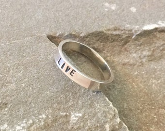 Personalized Affirmation Ring, Live Stacking Ring, Stackable Mantra Ring, Mantra Ring, Stacking Ring, Affirmation Ring, Mantra Stacking Ring