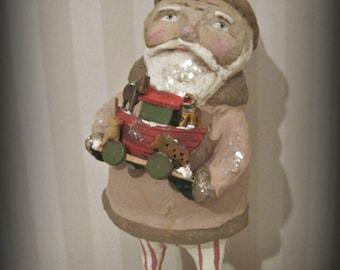 Folk art Santa Claus with an ark  papier mache folk art OOAK paper mache -hand made - Christmas