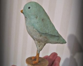 Bluebird  papier mache bird on a spool aqua OOAK folk art
