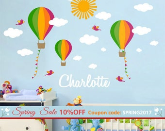 Nursery Wall Decal Hot Air Balloons Wall Decal Custom Name Decal Kids Balloon  Wall Decor Balloons Clouds Wall Decal Personalized