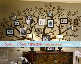 Family Tree Wall decal, Tree Wall Decal, Photo Frame Tree Wall Decal Sticker, Large Family Tree Wall Decal Sticker, Living Room Frames Tree