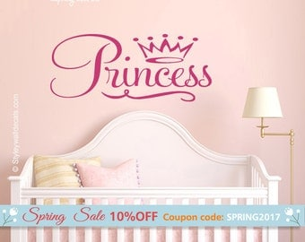Princess Wall Decal, Fairy Tale Wall Decal, Princess Vinyl Lettering Wall Decal, Girls Bedroom Wall Decal, Princess Wall Quote Nursery Decal