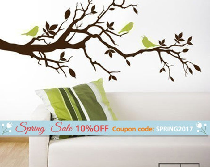Tree Branch Wall Decal-Love Birds on Branch with Leaves - Vinyl Wall Decal Art Home Decor Nursery Kids Children Baby Room Wall Decal