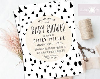 Baby Shower Invitation, Triangle Baby Shower, Gender Neutral Invite, Baby Shower,Geometric Invite, Printable Shower Invite, jadorepaperie