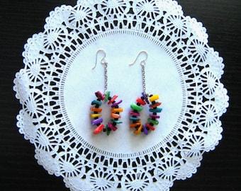 Dangle earrings, drop earrings, long earrings, oval earrings, modern earrings, beaded earrings, shell earrings, gift for her, mothers day