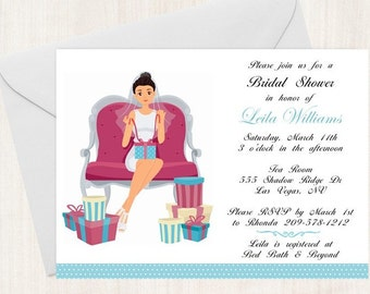 Bridal Shower Invitation / BRIDE on a couch / PRINTED Invitations / FREE Shipping