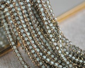 Green Crystal Glass Bead Chain 7mm, Unplated Brass Designer Chain (#RB-032)/ 1 Meter=3.3ft