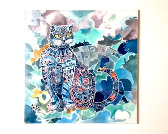 Silk painting, Blue cat, painted cat, housewarming gift painting, cat lovers gift, Original painting on silk, 12.0x12.0 inches