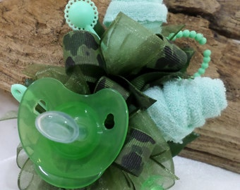 Camo Themed Baby Shower Corsage - Pin On Floral Corsage - Pacifier and Washcloths - Baby Shower Items