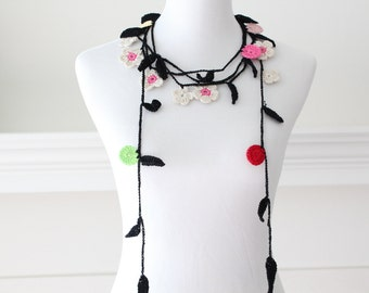 Crochet Black, Ivory, Red Lariat, Scarf, Necklace, Scarflette