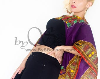Purple Dashiki  African Print Shrug - One Size
