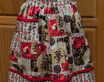 Ladies Half Apron Oriental Print Cotton Fabric