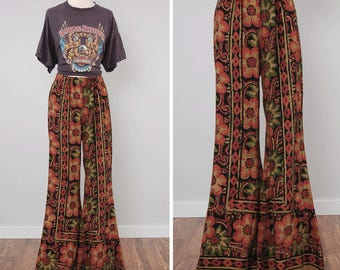 RESERVED Vintage 60s 70s indian cotton bellbottoms / Block print cotton fabric / Bohemian hippie bells / extra long 37 inch inseam and elast