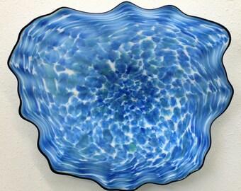 Beautiful Hand Blown Glass Art Wall Platter Bowl 7428 blue ONEIL