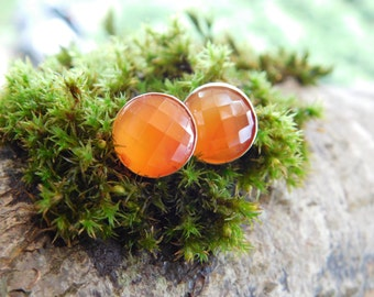 Orange Faceted Carnelian and Sterling Silver Earrings