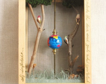 Bird Shadow Box, Diorama, Display, Assemblage Art, Faux Taxidermy, Handmade, Sculpture, Bird Display, Insects, Globe, Nature, Science,Aviary