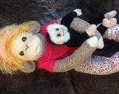 Baby Sock Monkey Maggie May.  Large Rockford Red Heel sock monkey.  Made by hand in the USA.