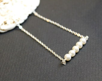 Minimalist Pearl Necklace, Sterling Silver Chain, Wedding Gift, Bridesmaid Gift