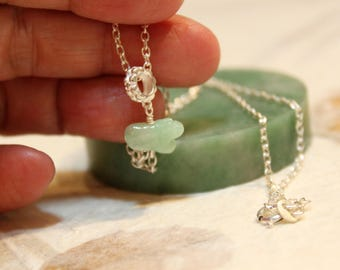 Dainty Jade Tiger Silver Necklace, Light Green Jade, Sterling Silver Chain, Birthday Gift, Birth Animals