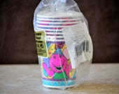 Barney The Dinosaur Paper Cups/Party Pack of Cups/Kids Birthday Cups/New Old Stock/8 7 oz Cups/1995
