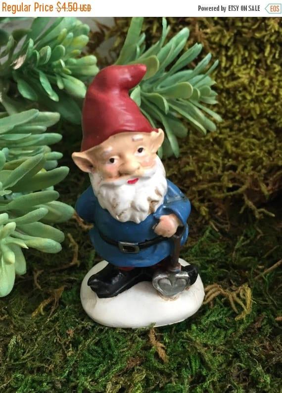 SALE Mini Garden Gnome With Red Hat, Blue Coat Figurine, Home and Garden Decor, Fairy Garden, Gnome Garden Accessory