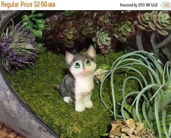 SALE Mini Kitten Figurine, Grey & White Sitting Cat, Fairy Garden Accessory, Home Decor, Topper, Gift, Kitty Cat Figurine Laying Cat