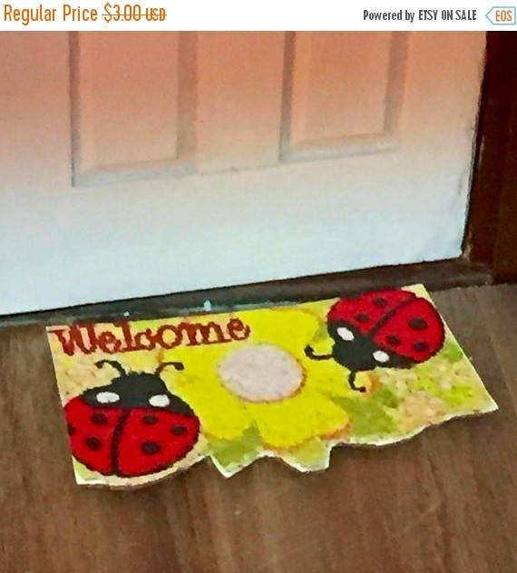 SALE Miniature Welcome Mat, Ladybug Mat, Dollhouse Miniature, 1:12 Scale, Dollhouse Accessory, Mini Decor, Mini Door Mat