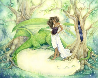 Fantasy Art Original Watercolor Painting - Dragon's Pool - fairy. enchanted forest. trees. whimsical. green. fairy tale.