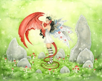 Fairy Art Watercolor Print - Poppy's Dragon - fantasy art. whimsical. nature. dragon art. standing stones. green. mushrooms. cute. girl.