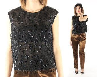 Vintage 60s Cocktail Blouse Sleeveless Beaded Lace Top Fringe Shirt 1960s Large L X-large XL Black