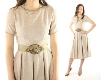 Vintage 50's Day Dress Short Sleeve Rose Belt Full Pleated Skirt 1950s Small S Tan Taupe Janice Jr.