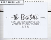 Custom Address Stamp, Return Address Stamp, Wedding , Christmas Stamp, Calligraphy Address Stamp, Self inking or Eco Mount stamp - Bartlett