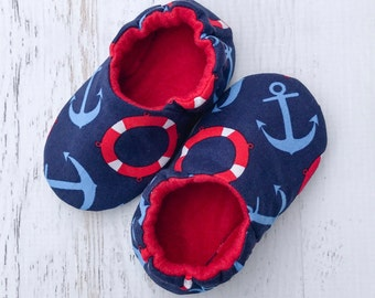 Soft sole shoes - crib shoes - baby moccasins - prewalker shoes - navy shoes - anchor print