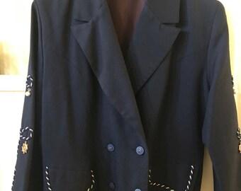 Navy Nautical Embellished Blazer size S/M