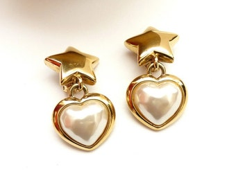 Vintage Gold Dangling Earrings with Stars, Hearts and Pearls 2 Inches
