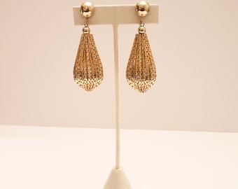 Vintage Gold Mesh Dangling Earrings 2.75 Inches Pendant Earrings