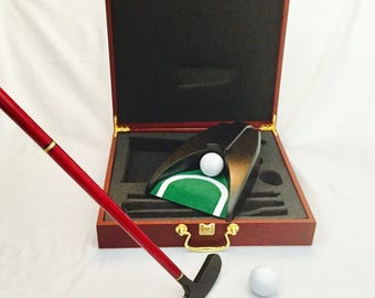 GOLF Personalized Golf Set, Golf Set, Executive Rosewood Finish Golf Set, Golf Putting Set, Father's Day Gift, Dad Christmas, Anniversary