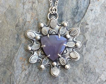 Purple Salvia Chalcedony and Fine Silver Necklace. Handmade Jewelry for Charity. NC116