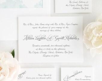 Fairytale Script Wedding Invitations - Sample