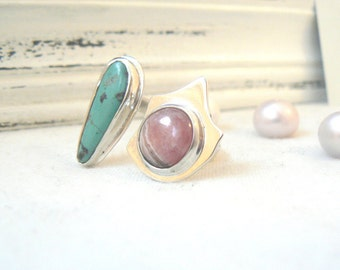 Sterling Silver Duet Ring with Turquoise and Rhodocrosite Gemstone - Jewelry 925 - Size 10.5