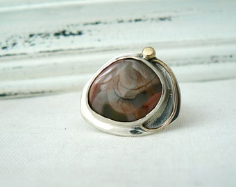 Rose Cut Imperial Jasper and Sterling Silver - Size 7 - READY TO SHIP - Gemstone green handmade jewelry