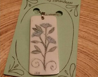 Scrimshaw Necklace Intricate Blue Flower Swag Design OOAK Great Gift Idea