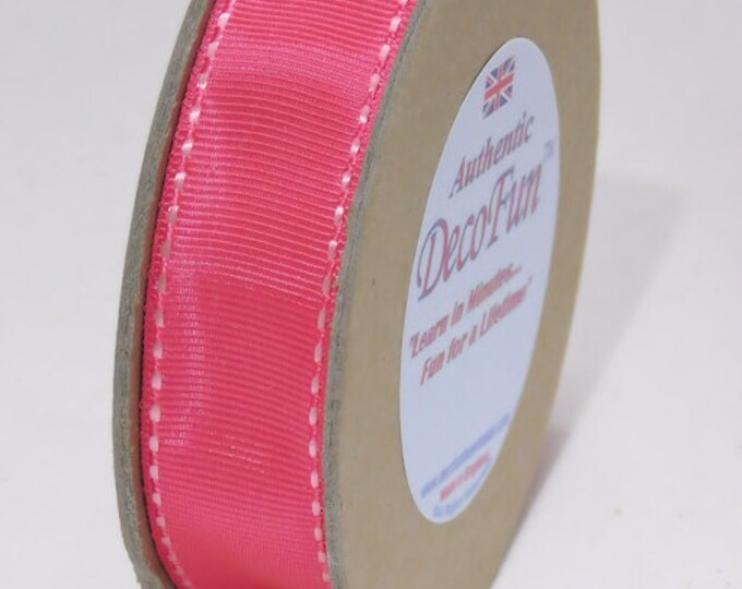 Pink & Green Ribbons, assorted Woven Stitched Edge Grosgrain Ribbon, Nature's Own brand, Made in England, 1 inch width (25 mm) 15 ft roll