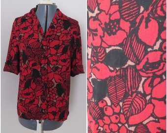 Vintage 60s 70s Red Black Floral Short Sleeve Shirt - Womens Bust 39