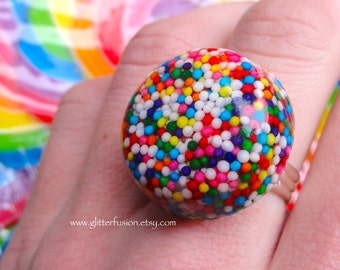 Rainbow Candy Sprinkles Resin Statement Ring, Colorful Cupcake Sprinkles Nonpareils Candy Glam Ring, Kawaii Candy GlitterFusion Bubble Ring