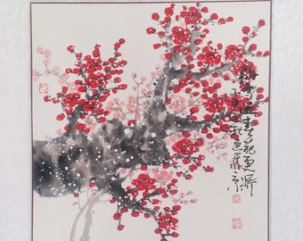 Cherry Blossom paintings Original  chinese  painting oriental art watercolour-Lovely cherry blossom tree No.70
