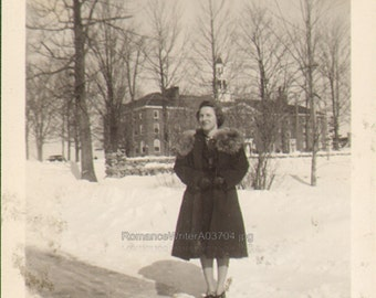 Doris Lord goes to College and Poses in the Snow Vintage Photo of a Pretty Woman in the Snow 1939