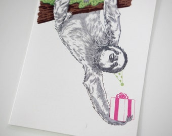 SALE - Birthday Sloth greeting card - 50% off