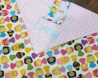 Personalized Baby Blanket- Princess baby blanket- Minky Baby Blanket- Princess Nursery