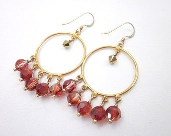 Gold and Red Earrings -- Gold Bead Hoops -- Swarovski Crystal Hoop Earrings -- Orange Red Swarovski Earrings -- Red Crystal Hoops -- Hoops